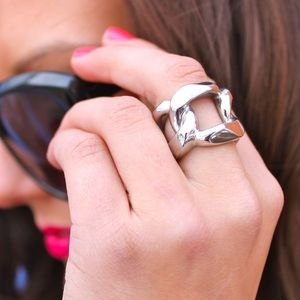 Michael Kors Silver Chain Link Ring